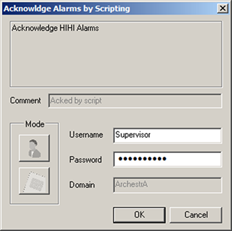 FIGURE 22: P1 ALARM USING THE SLIDER 22. Click the SignedAlarmAck() button. In this example, notice that you see the Acknowldge Alarm by Scripting dialog box where you cannot edit the alarm comment.