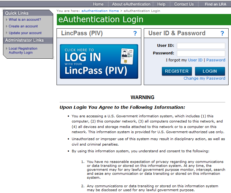 Enter the eauth User ID and Password You Just Created