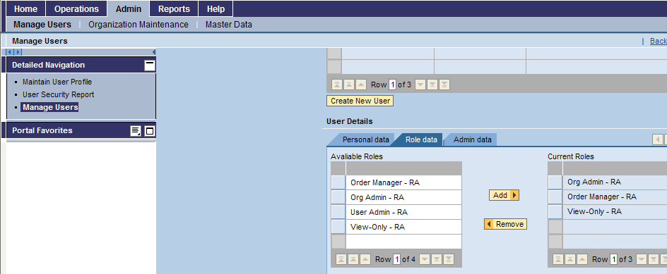 Creating a New User Role Data Tab Make sure to add Order Manager and Org