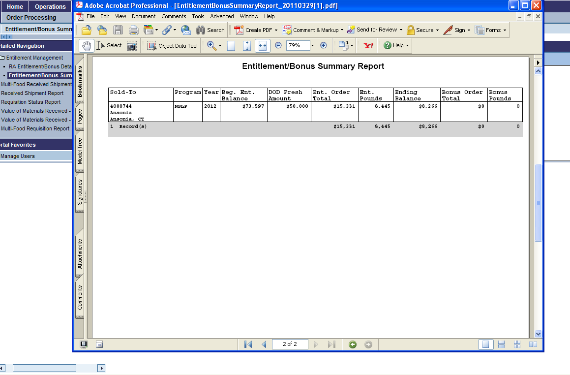 Entitlement/Bonus Summary Report Details Page 2 has the information You can save or