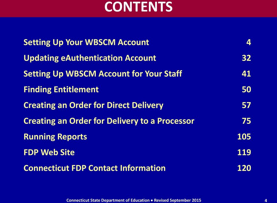 Creating an Order for Delivery to a Processor 75 Running Reports 105 FDP Web Site 119