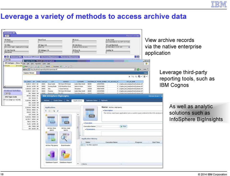 third-party reporting tools, such as IBM Cognos As well as