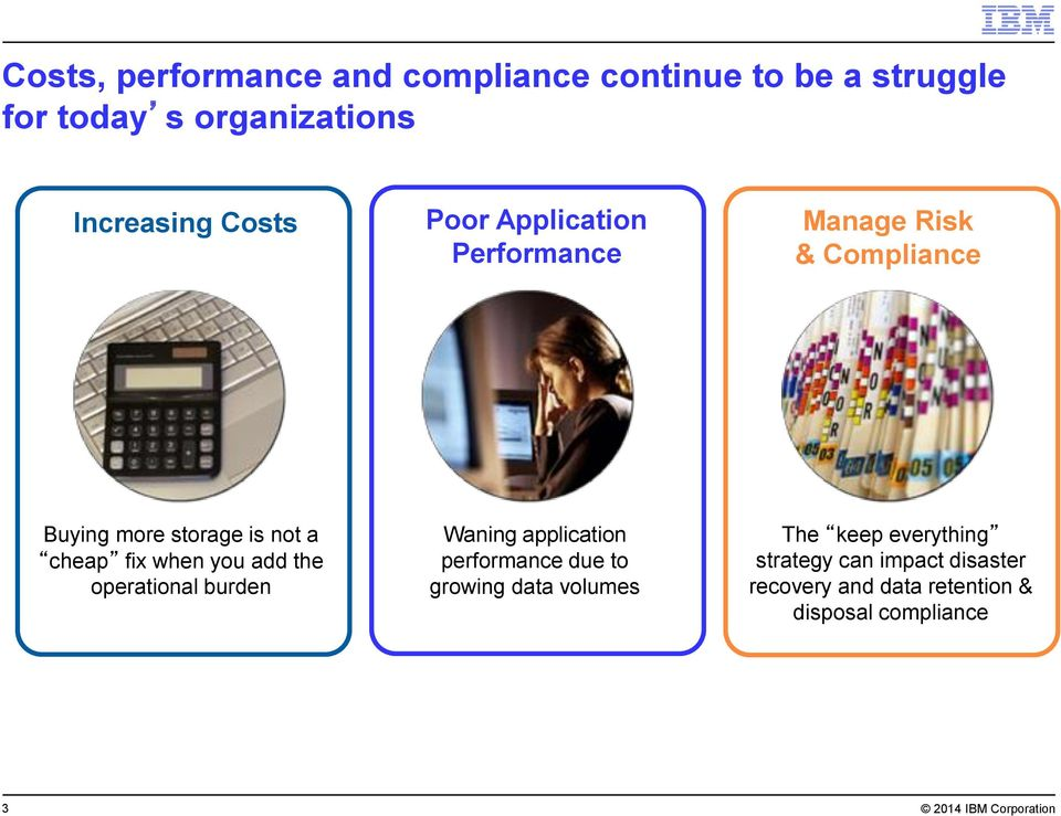add the operational burden Waning application performance due to growing data volumes The keep