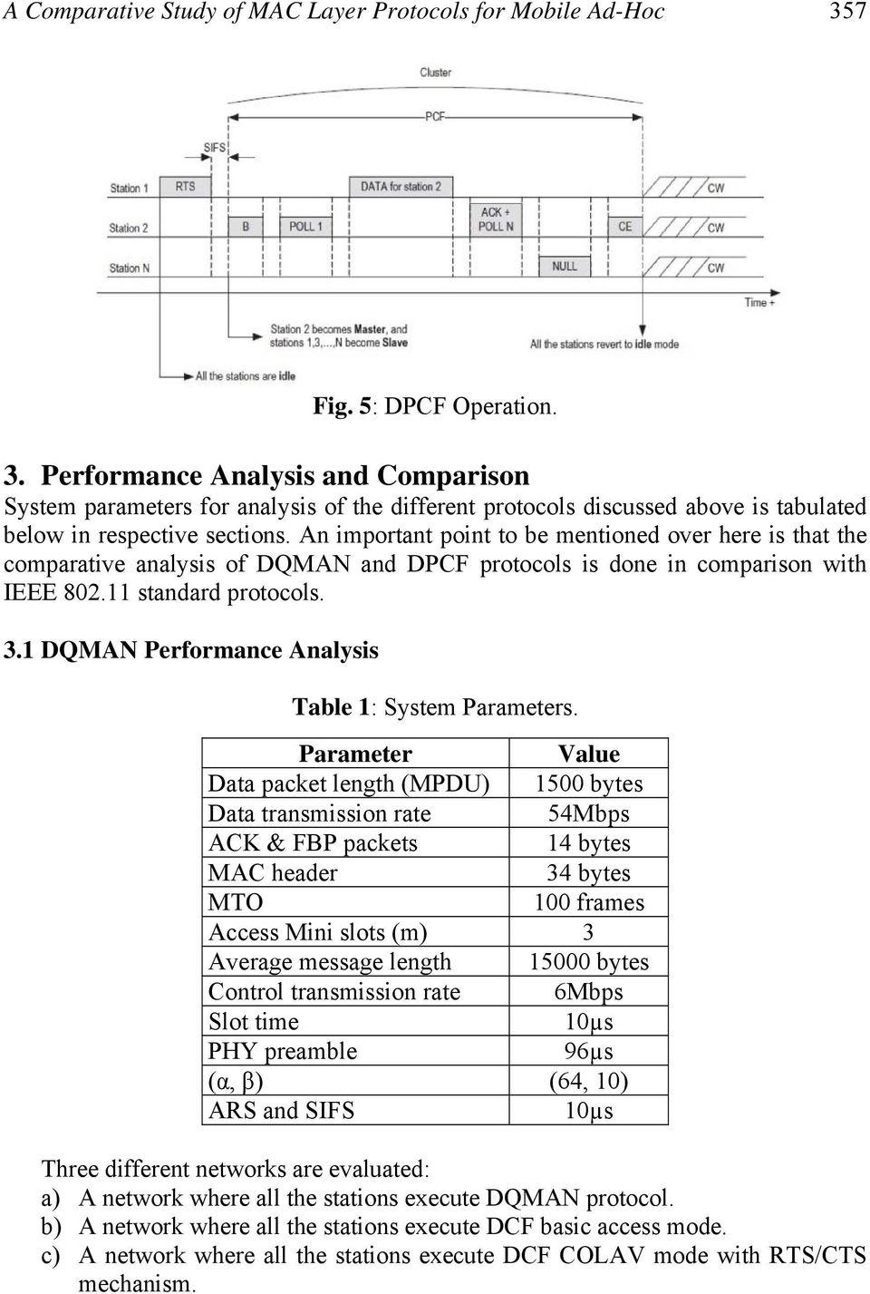 An important point to be mentioned over here is that the comparative analysis of DQMAN and DPCF protocols is done in comparison with IEEE 802.11 standard protocols. 3.
