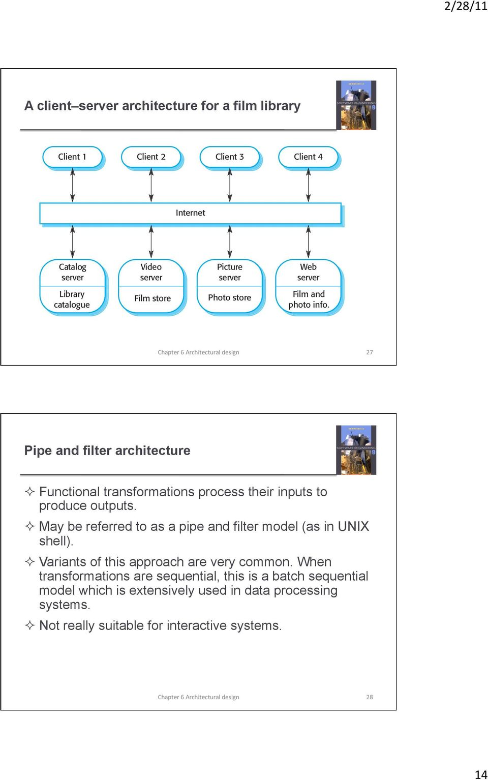 27 Pipe and filter architecture Functional transformations process their inputs to produce outputs.
