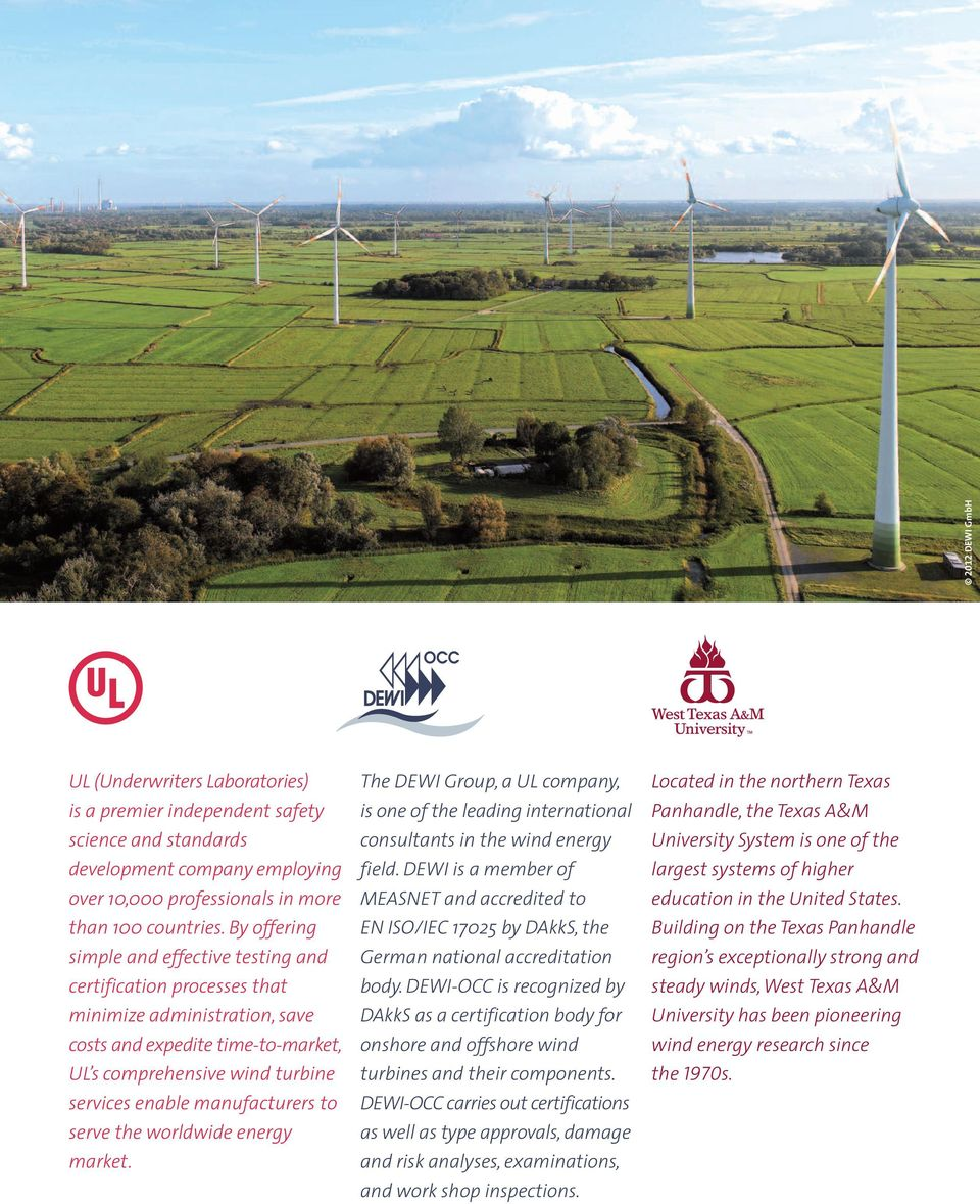 manufacturers to serve the worldwide energy market. The DEWI Group, a UL company, is one of the leading international consultants in the wind energy field.