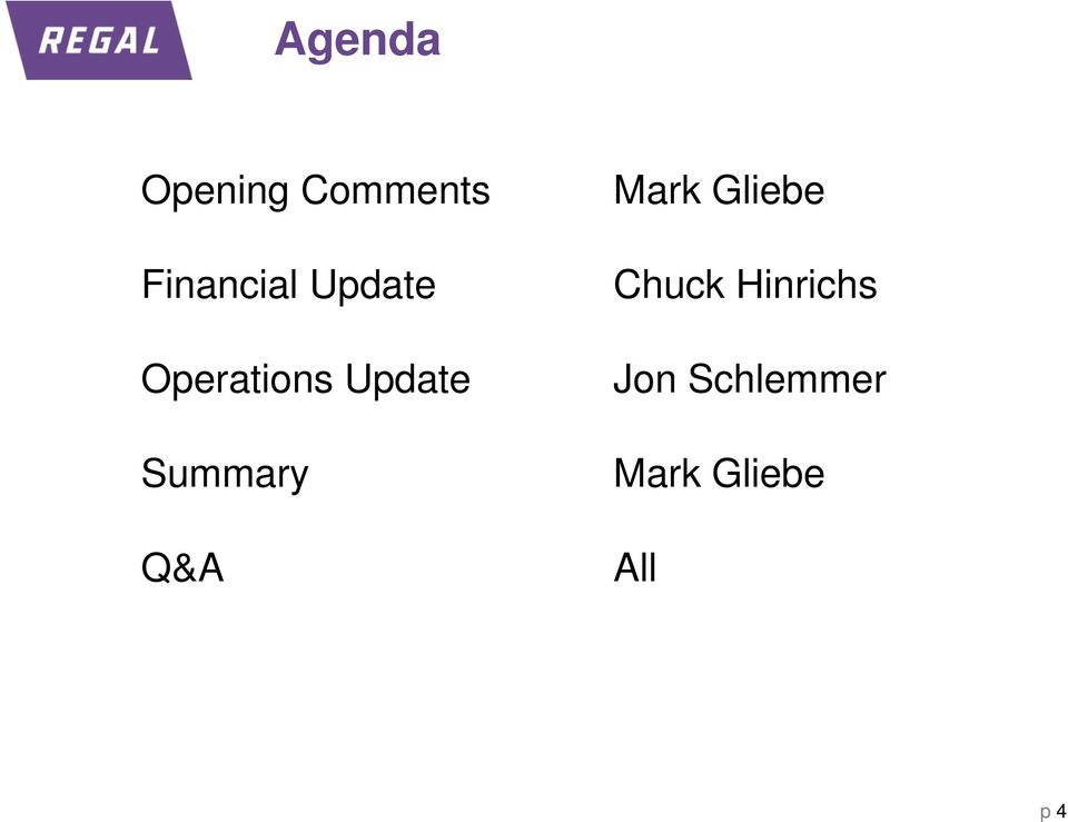 Update Summary Q&A Mark Gliebe
