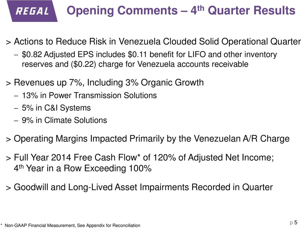 22) charge for Venezuela accounts receivable > Revenues up 7%, Including 3% Organic Growth 13% in Power Transmission Solutions 5% in C&I Systems 9% in Climate