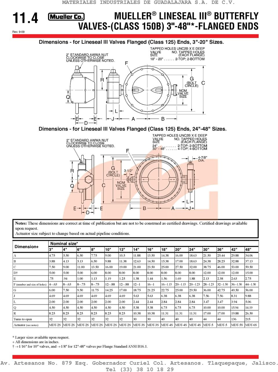 "Certified drawings available upon request. Dimension+ Nominal size* 3"" 4"" 6"" 8"" 10"" 12"" 14"" 16"" 18"" 20"" 24"" 30"" 36"" 42"" 48"" A 4.75 5.50 6.50 7.75 9.00 10.5 11.88 13.50 14.38 16.00 18.63 21.50 25."