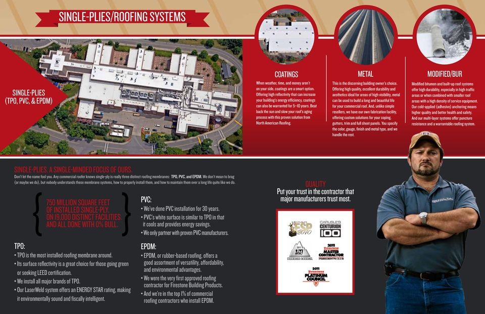 Beat back the sun and slow your roof s aging process with this proven solution from North American Roofing. This is the discerning building owner s choice.