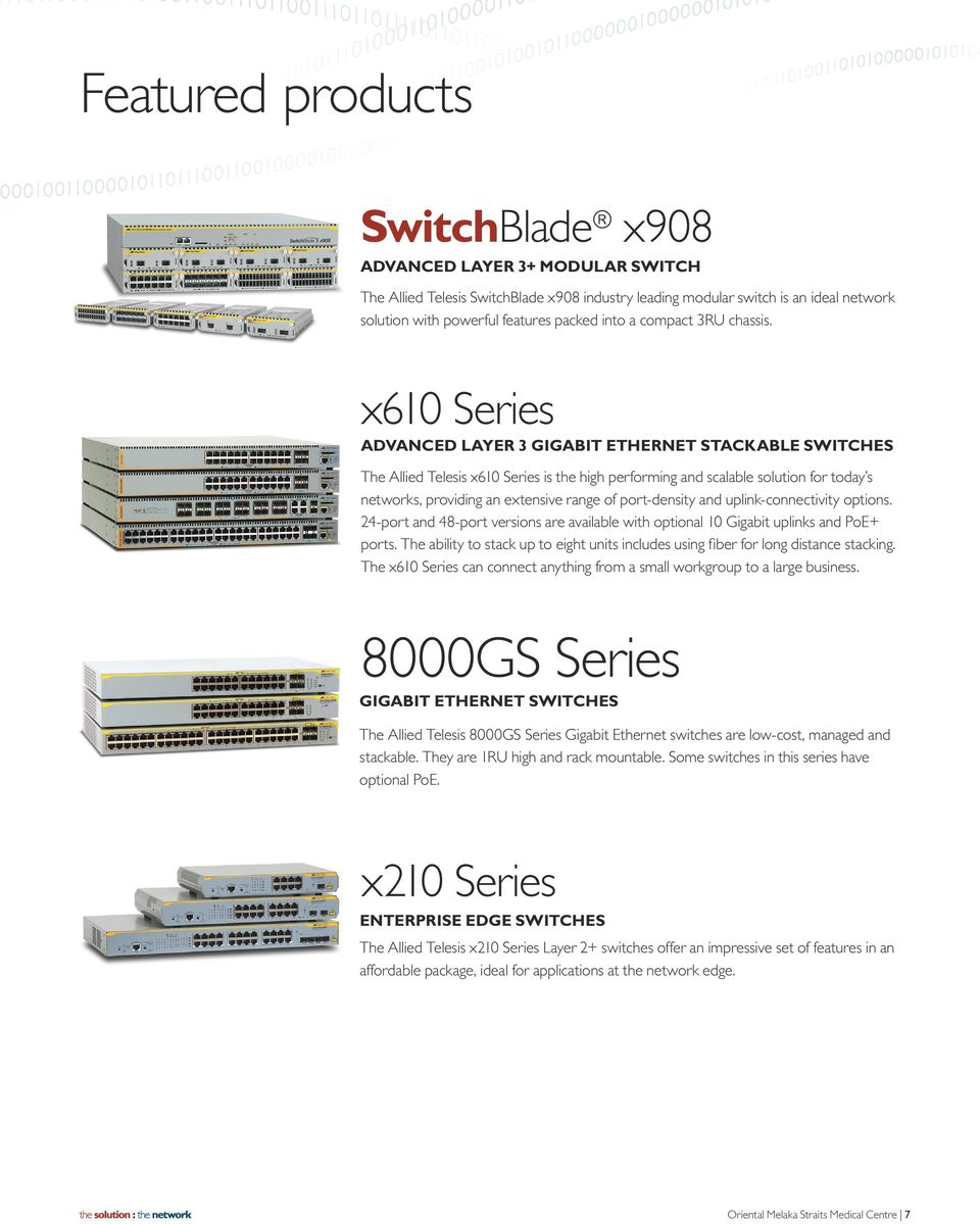 x610 Series ADVANCED LAYER 3 GIGABIT ETHERNET STACKABLE SWITCHES The Allied Telesis x610 Series is the high performing and scalable solution for today s networks, providing an extensive range of