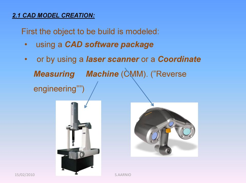 or by using a laser scanner or a Coordinate