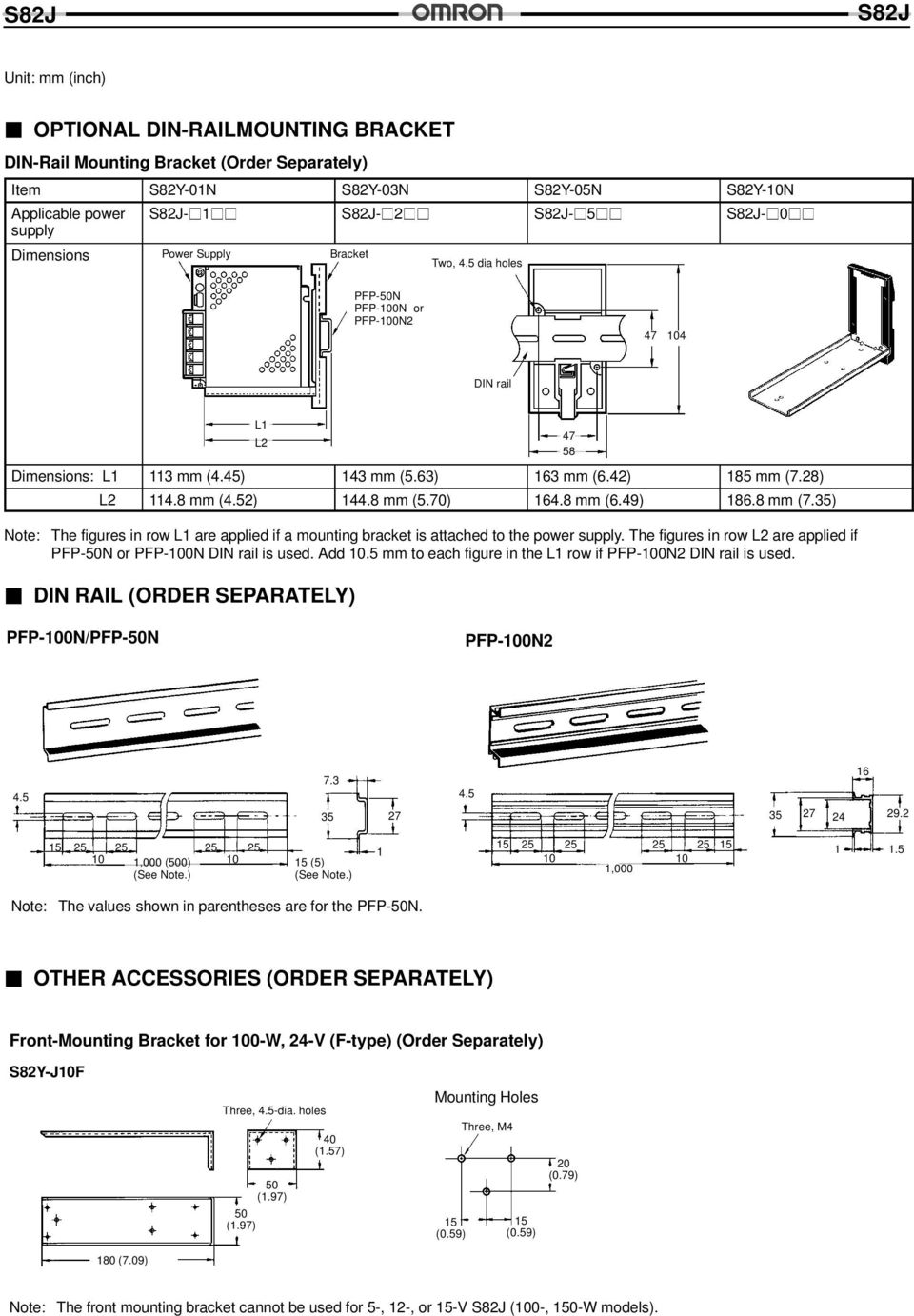 49) 186.8 mm (7.35) 47 58 The figures in row L1 are applied if a mounting bracket is attached to the power supply. The figures in row L2 are applied if PFP-50N or PFP-100N DIN rail is used. Add 10.