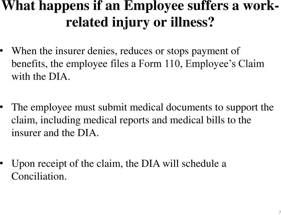 Employee s Claim with the DIA.
