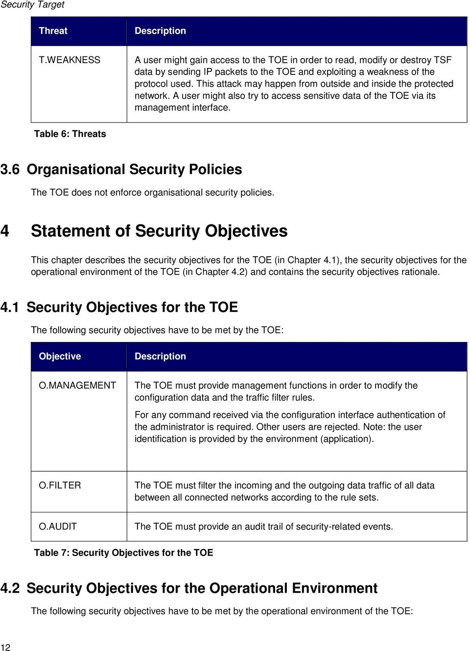 6 Organisational Security Policies The TOE does not enforce organisational security policies.