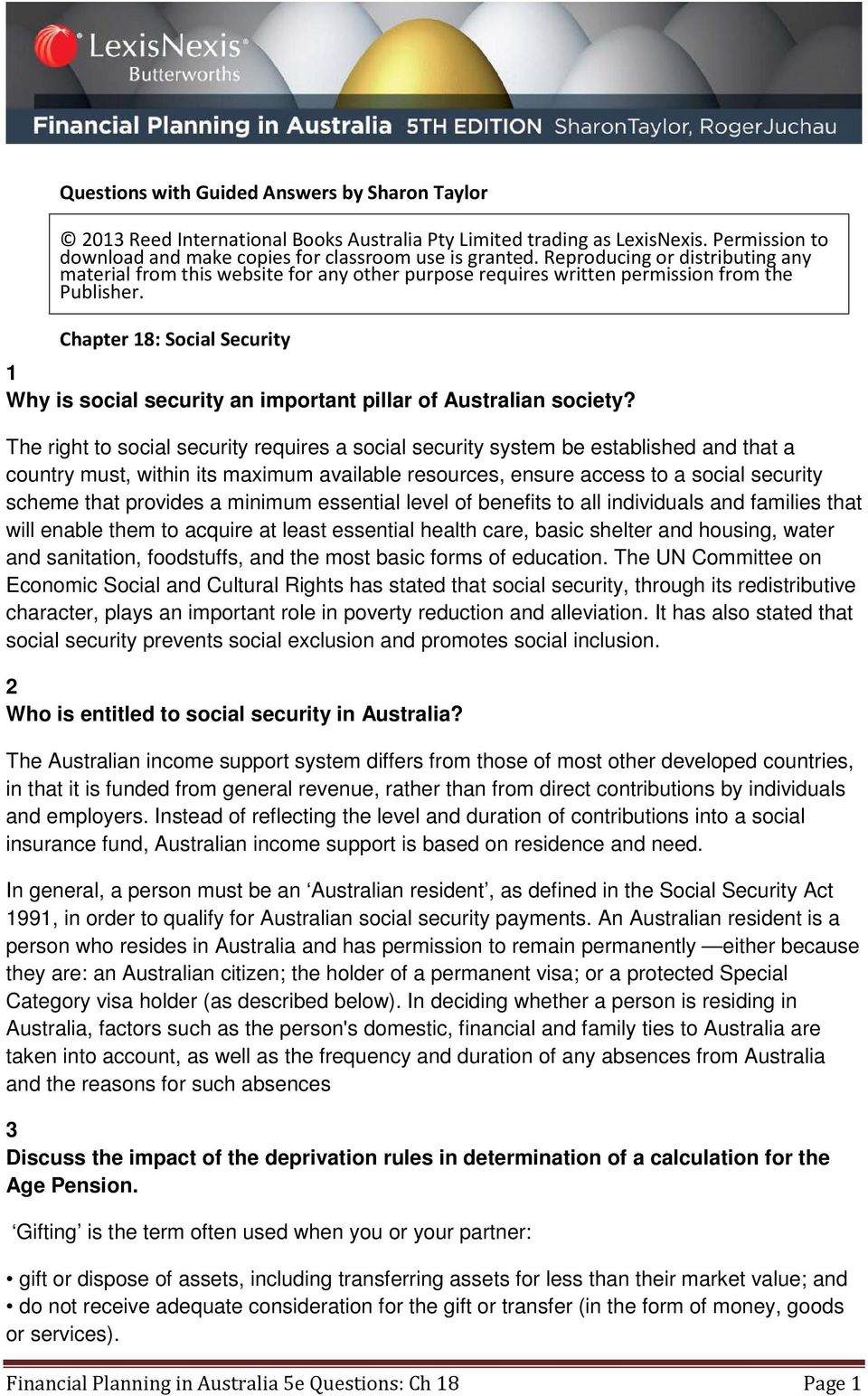 Chapter 18: Social Security 1 Why is social security an important pillar of Australian society?