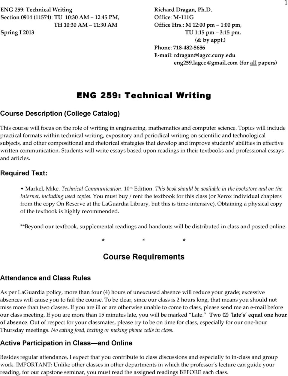 com (for all papers) 1 Course Description (College Catalog) ENG 259: Technical Writing This course will focus on the role of writing in engineering, mathematics and computer science.