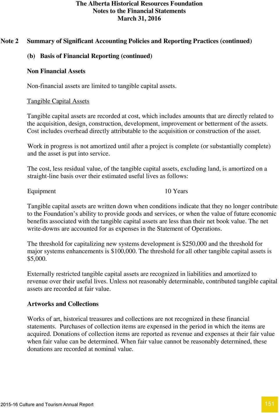 Tangible Capital Assets Tangible capital assets are recorded at cost, which includes amounts that are directly related to the acquisition, design, construction, development, improvement or betterment