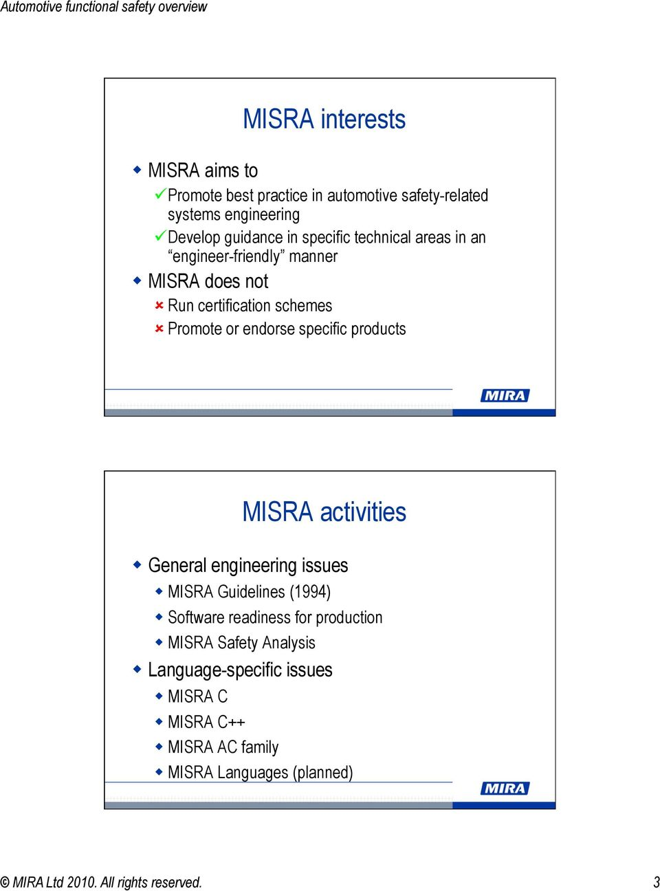 products MISRA activities General engineering issues MISRA Guidelines (1994) Software readiness for production MISRA Safety