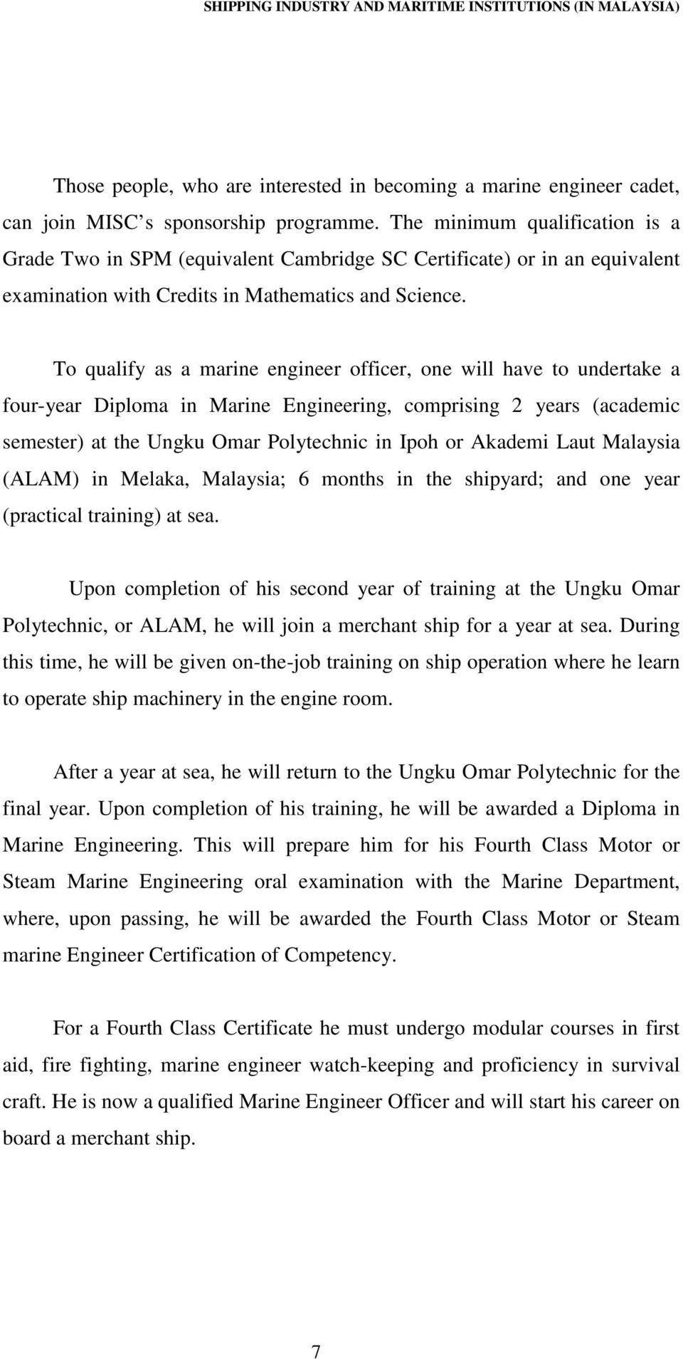 An investigation of the practical maritime training for