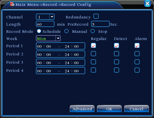 4 / 16 Pic 2 Recording Config Channel Choose the corresponding channel number to set the channel. Choose the all option to set the entire number of channels.