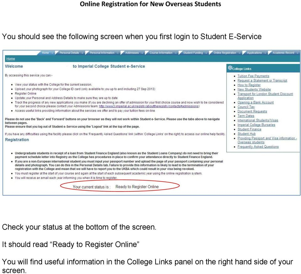 It should read Ready to Register Online You will find useful
