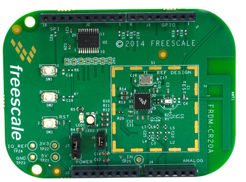Figure 7. FRDM-CR20A development board The device footprint and layout are critical and the RF performance is affected by the design implementation.