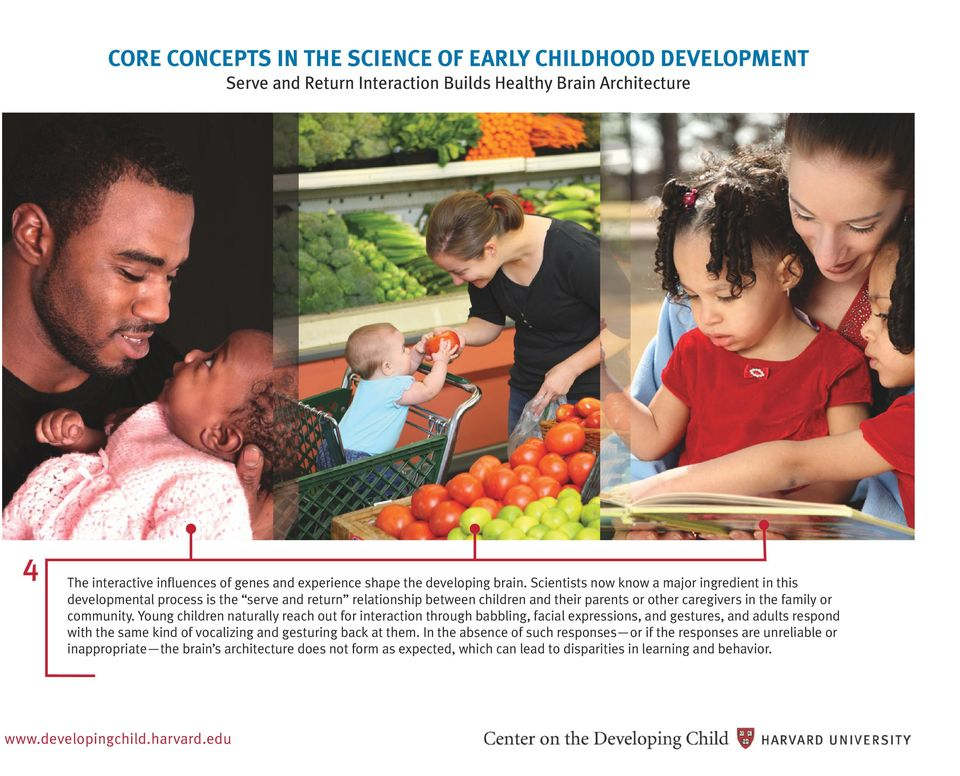 Scientists now know a major ingredient in this developmental process is the serve and return relationship between children and their parents or other caregivers in the family or community.