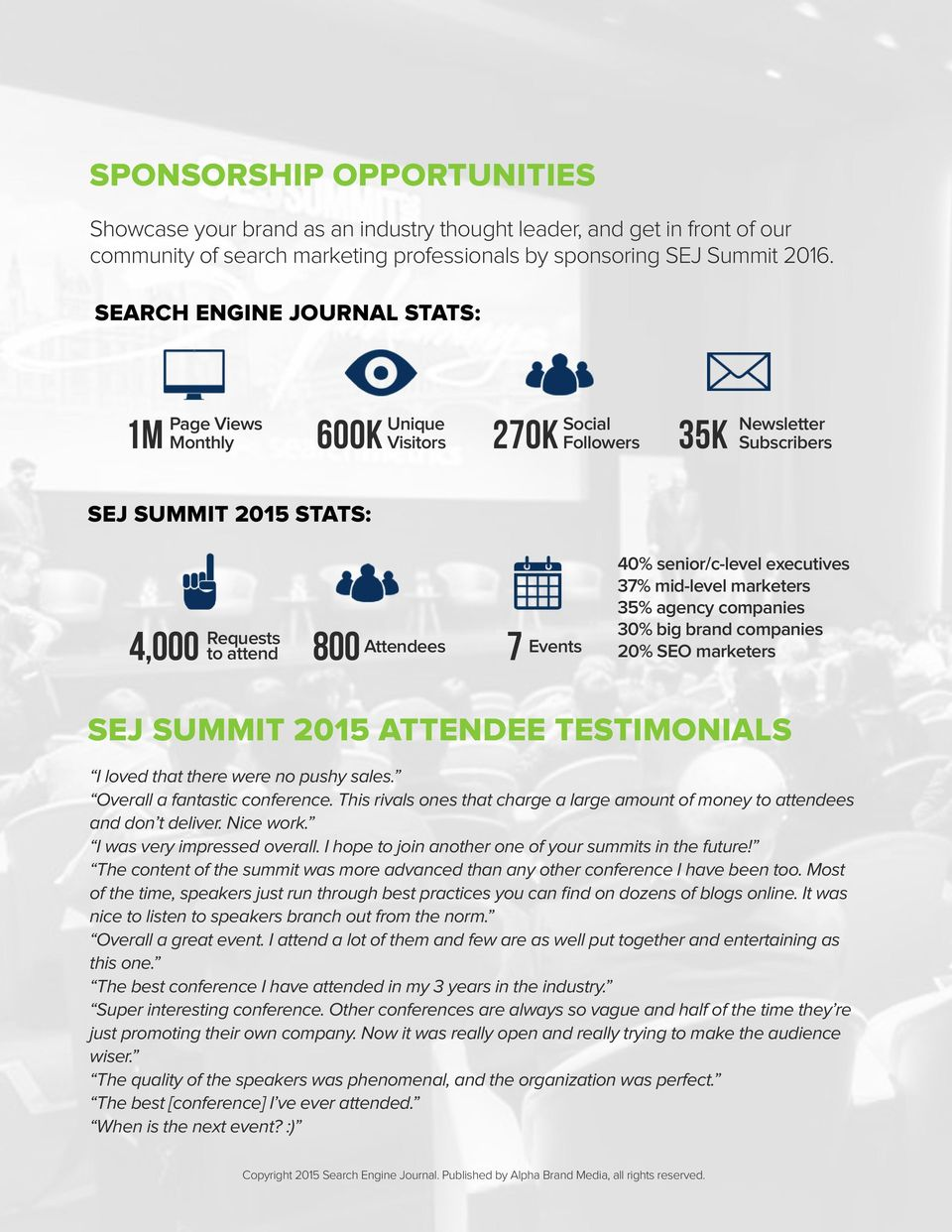 senior/c-level executives 37% mid-level marketers 35% agency companies 30% big brand companies 20% SEO marketers SEJ SUMMIT 2015 ATTENDEE TESTIMONIALS I loved that there were no pushy sales.