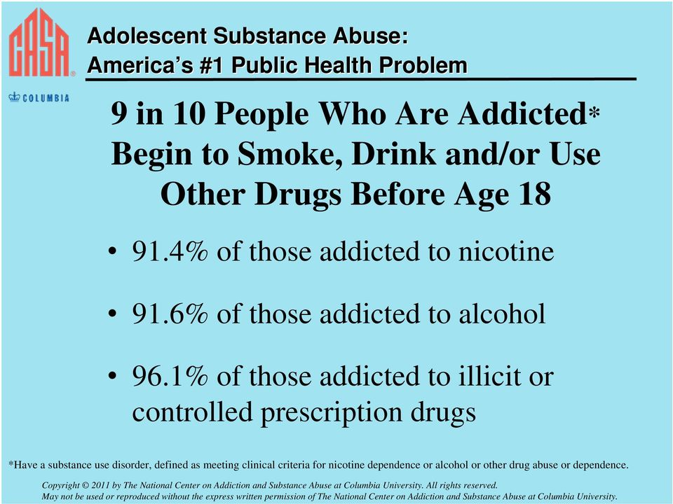 1% of those addicted to illicit or controlled prescription drugs *Have a substance use