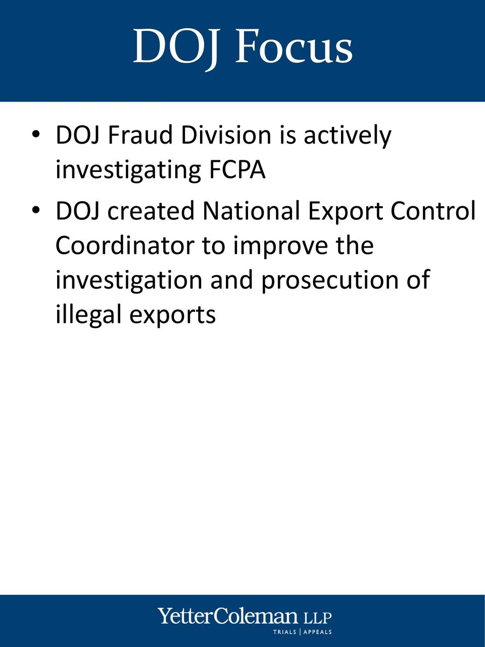 Export Control Coordinator to improve the