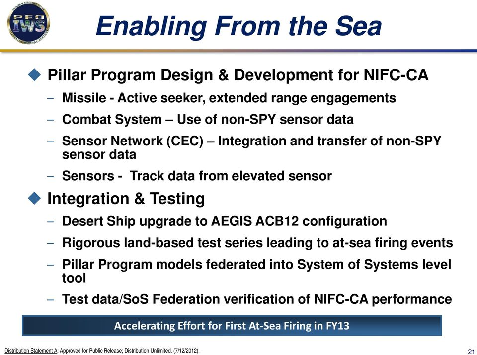 Testing Desert Ship upgrade to AEGIS ACB12 configuration Rigorous land-based test series leading to at-sea firing events Pillar Program models