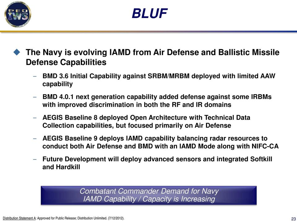 Data Collection capabilities, but focused primarily on Air Defense AEGIS Baseline 9 deploys IAMD capability balancing radar resources to conduct both Air Defense and BMD with an IAMD