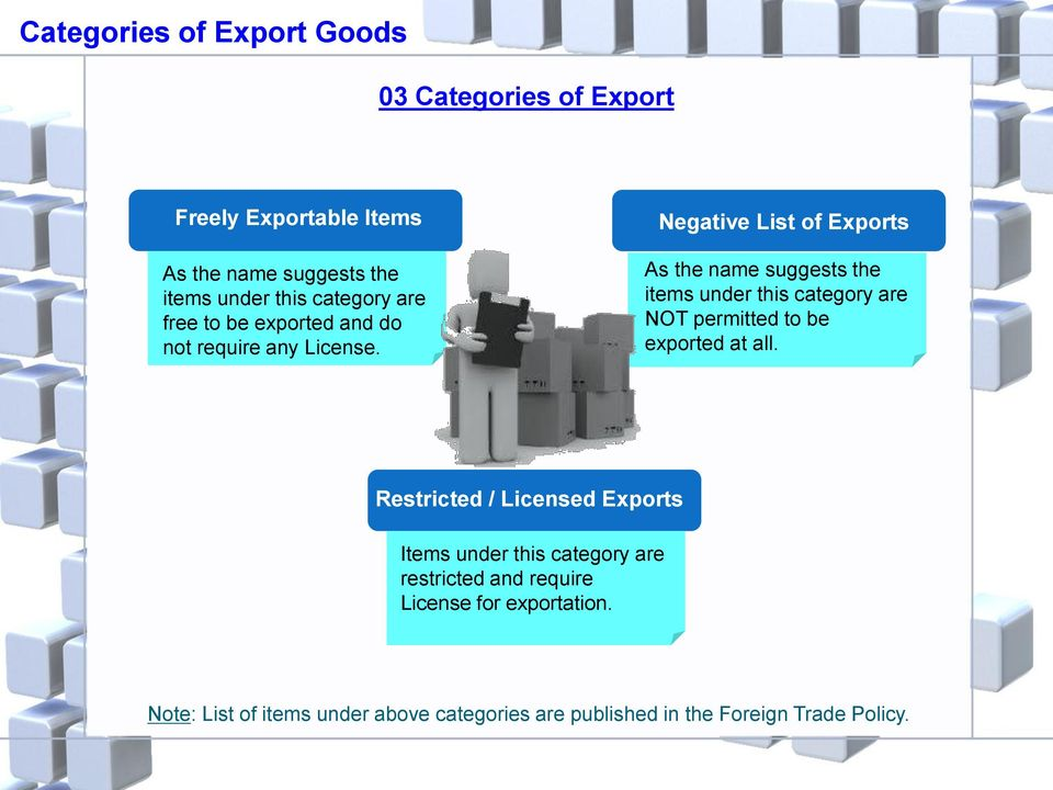 Negative List of Exports As the name suggests the items under this category are NOT permitted to be exported at all.