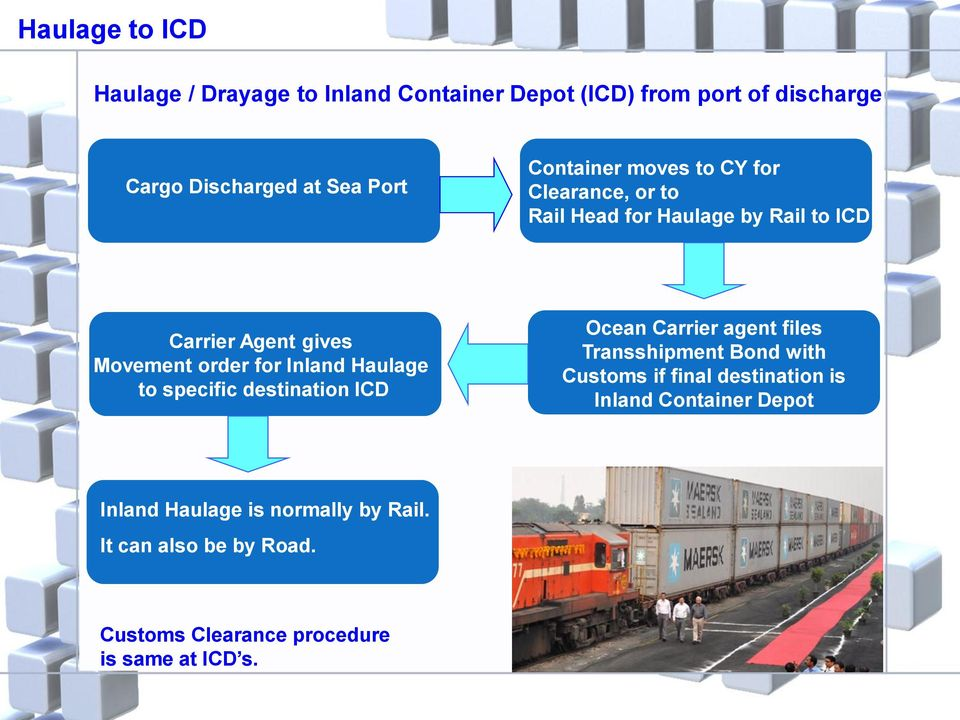 Inland Haulage to specific destination ICD Ocean Carrier agent files Transshipment Bond with Customs if final destination