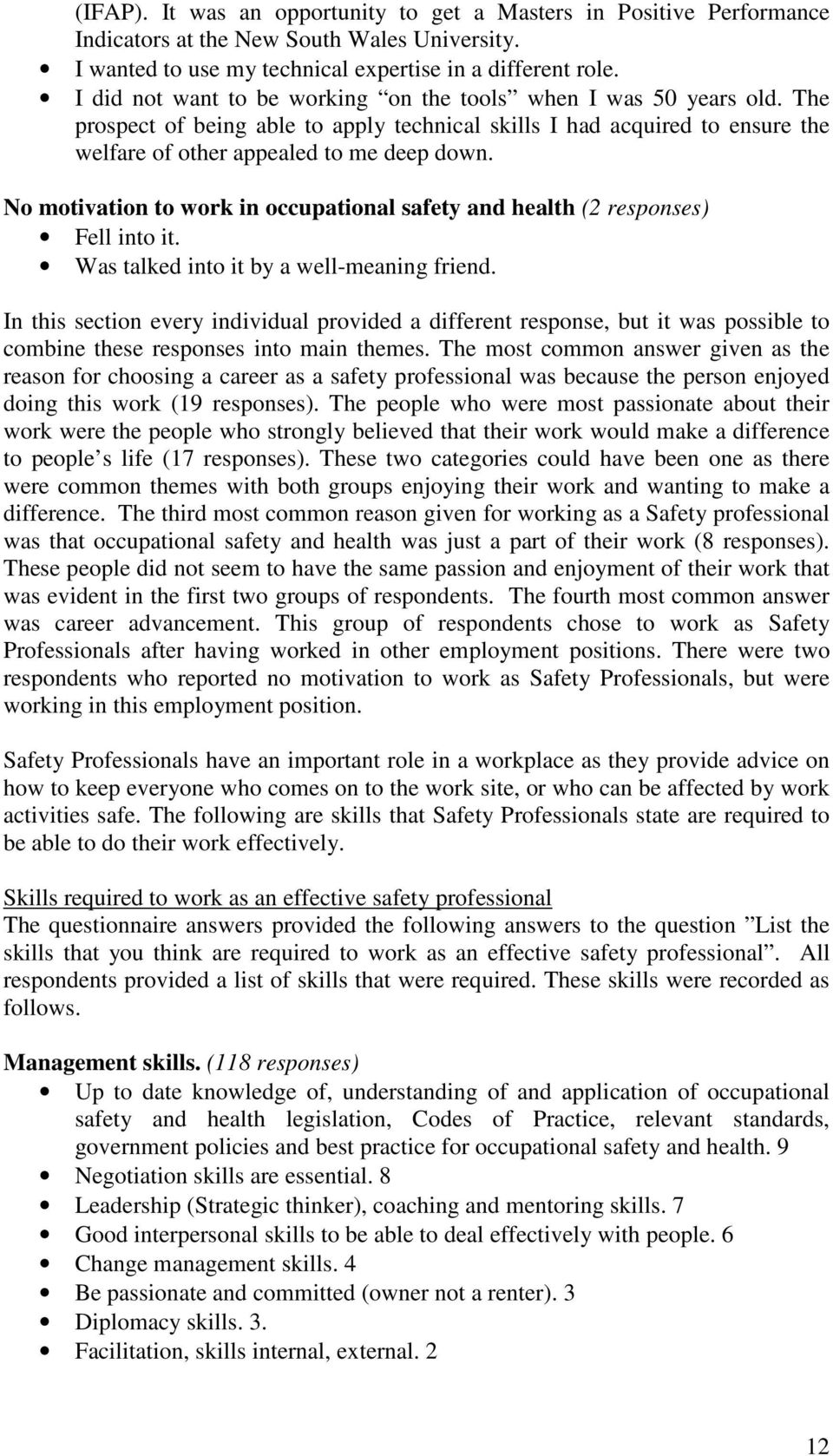 appendix responses pdf no motivation to work in occupational safety and health 2 responses fell into it