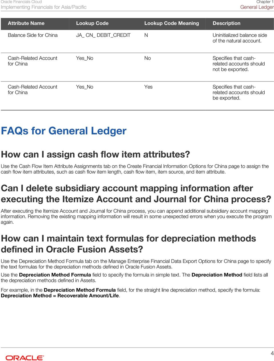 FAQs for General Ledger How can I assign cash flow item attributes?