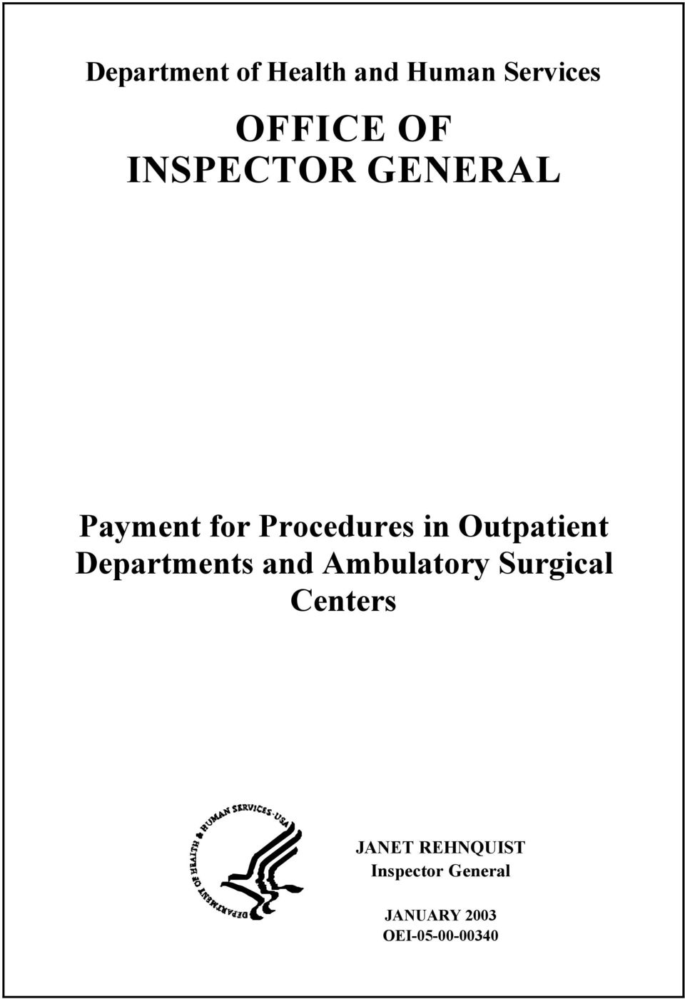 Outpatient Departments and Ambulatory Surgical