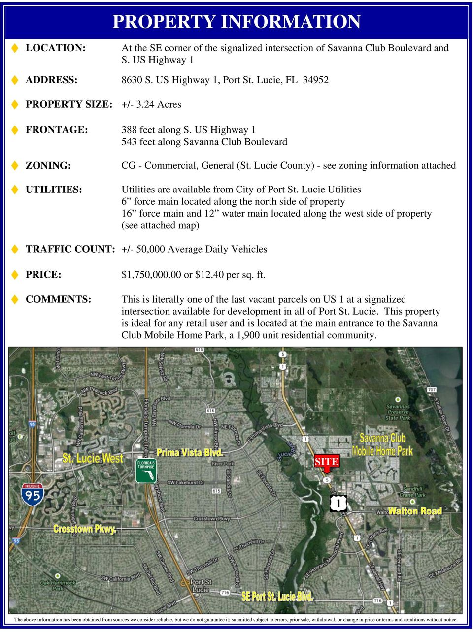 Lucie County) - see zoning information attached Utilities are available from City of Port St.