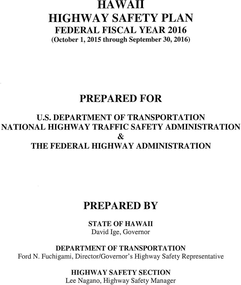 Hawaii2016 Highway Safety Plan Hawall Department Of