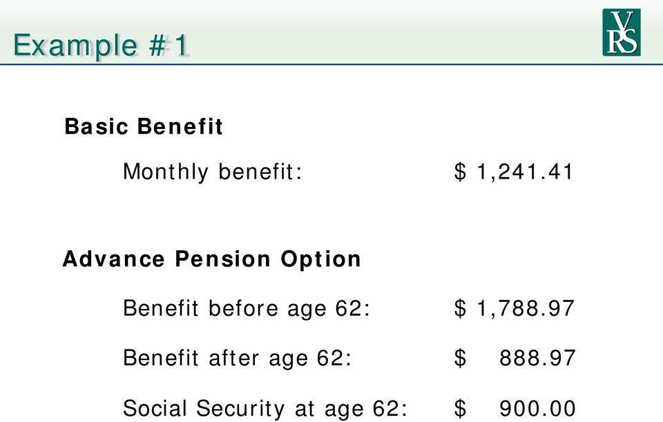 41 Advance Pension Option Benefit before