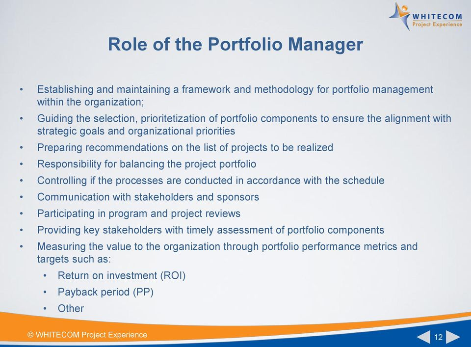 portfolio Controlling if the processes are conducted in accordance with the schedule Communication with stakeholders and sponsors Participating in program and project reviews Providing key