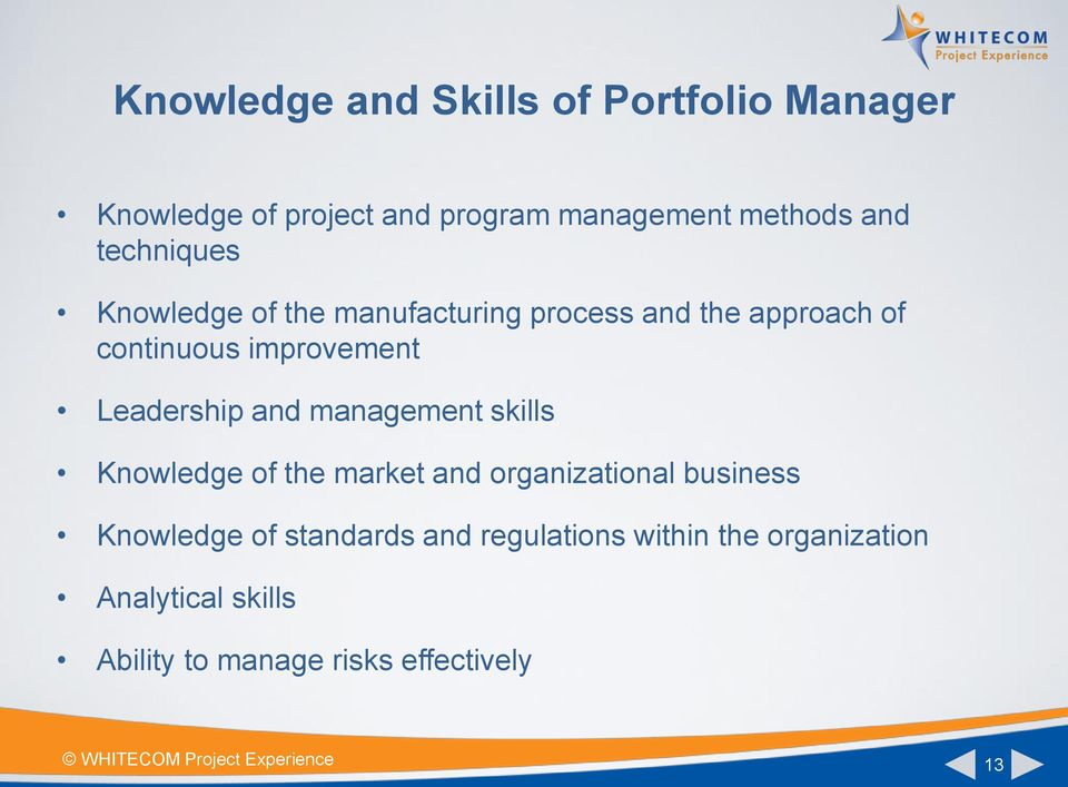Leadership and management skills Knowledge of the market and organizational business Knowledge of