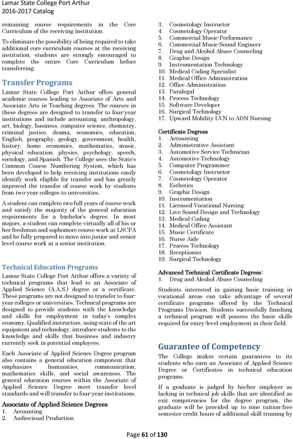 transferring. Transfer Programs Lamar State College Port Arthur offers general academic courses leading to Associate of and Associate in Teaching degrees.