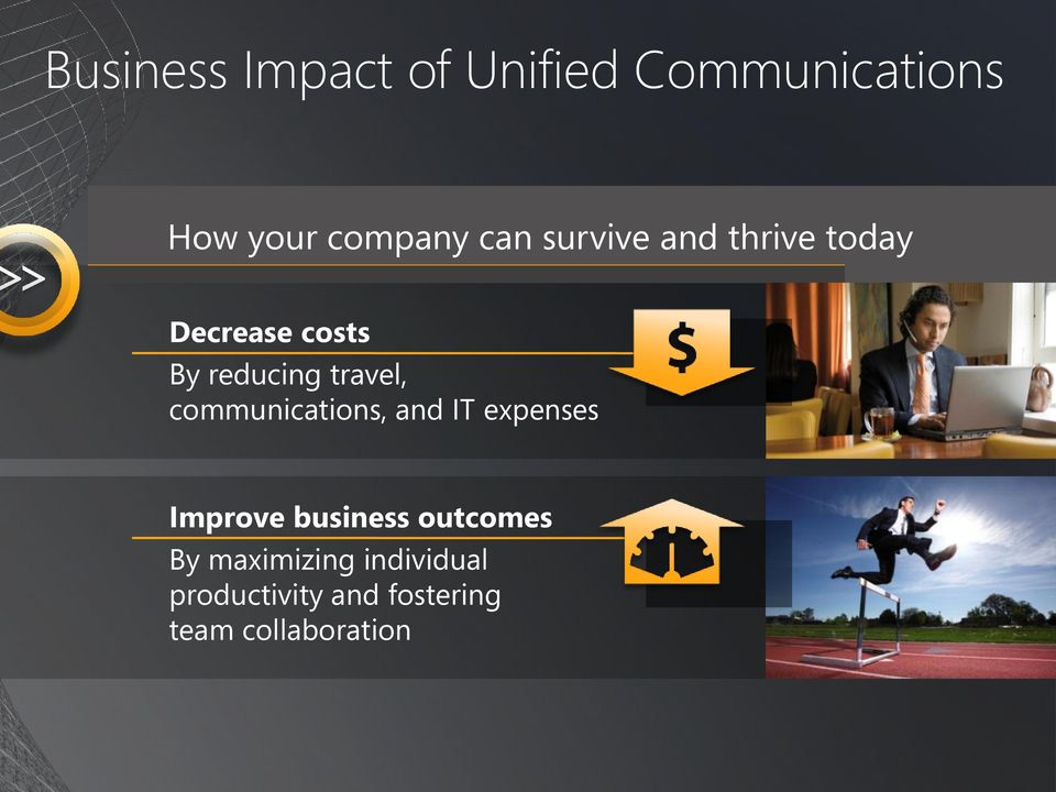 communications, and IT expenses Improve business outcomes By