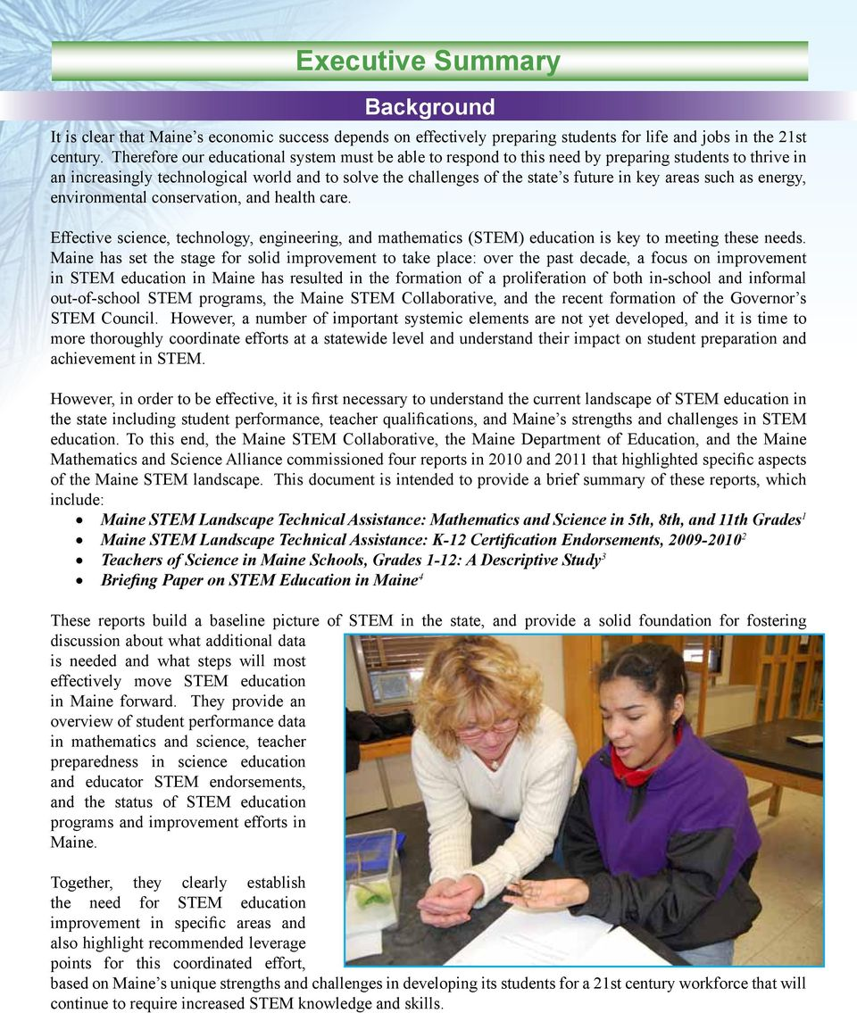 March STEM Education In Maine: An Executive Summary Of