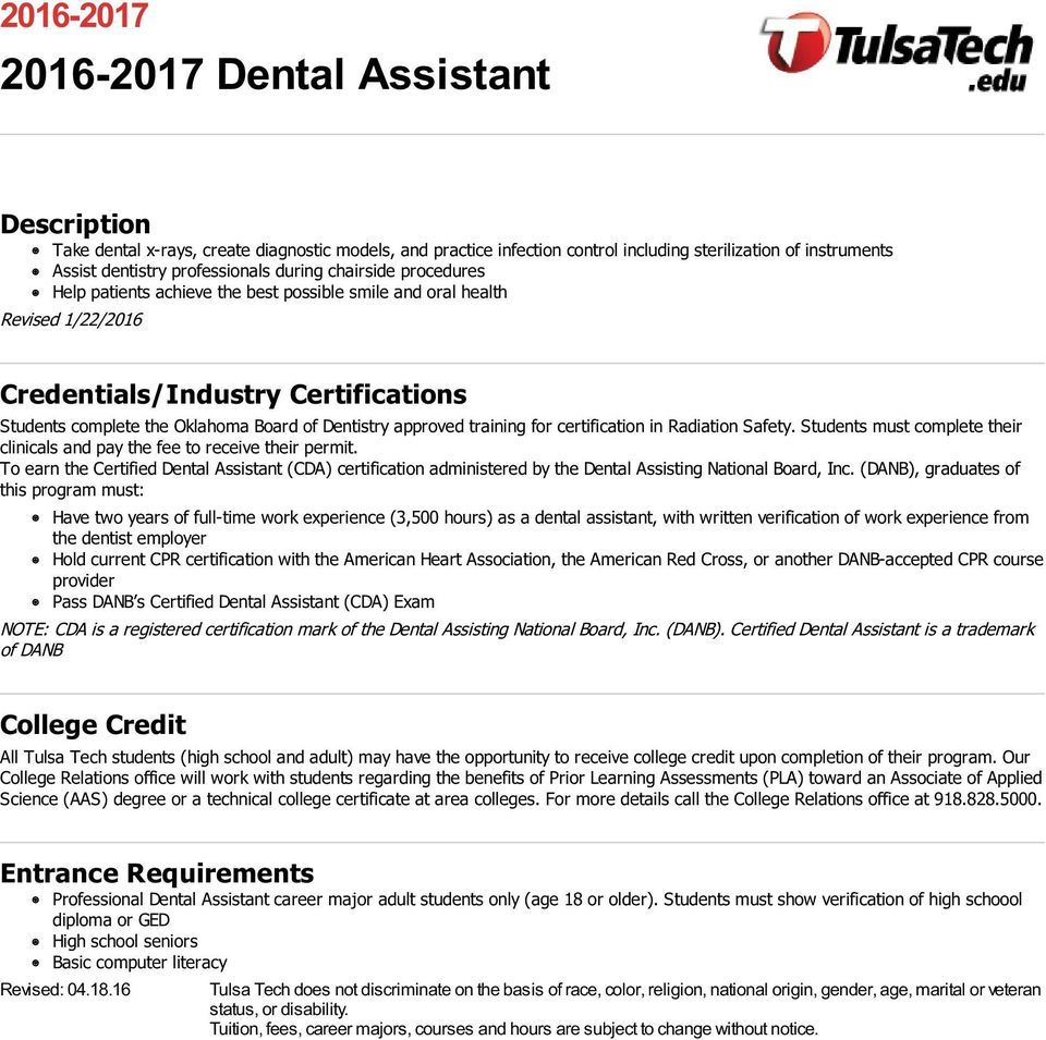 Dental Assistant subjects studied in high school for job application