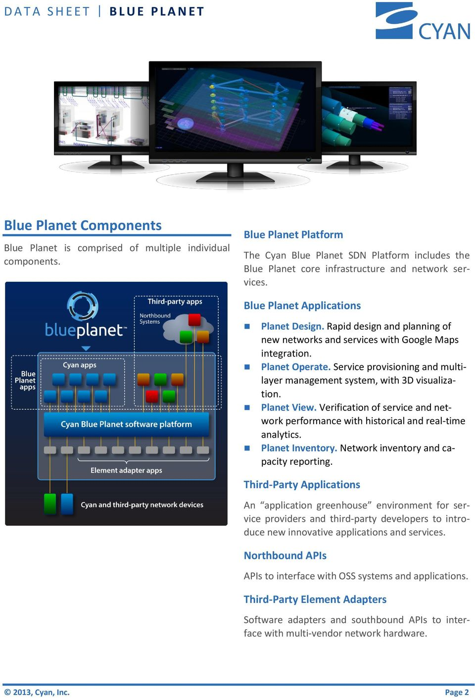 Rapid design and planning of new networks and services with Google Maps integration. Planet Operate. Service provisioning and multilayer management system, with 3D visualization. Planet View.