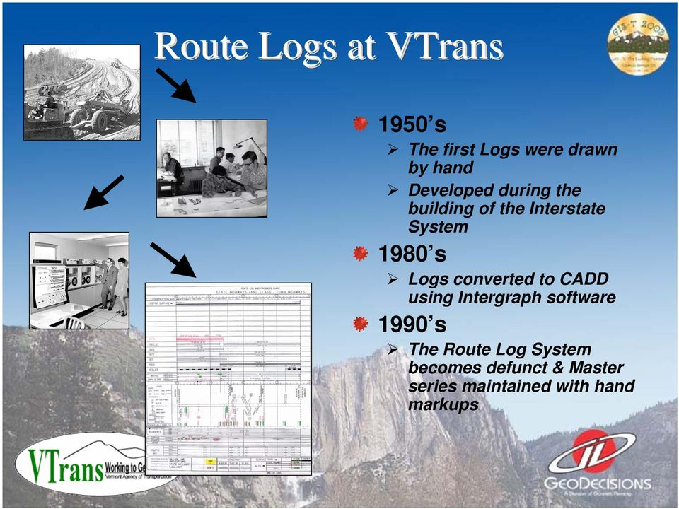 Logs converted to CADD using Intergraph software 1990 s The Route