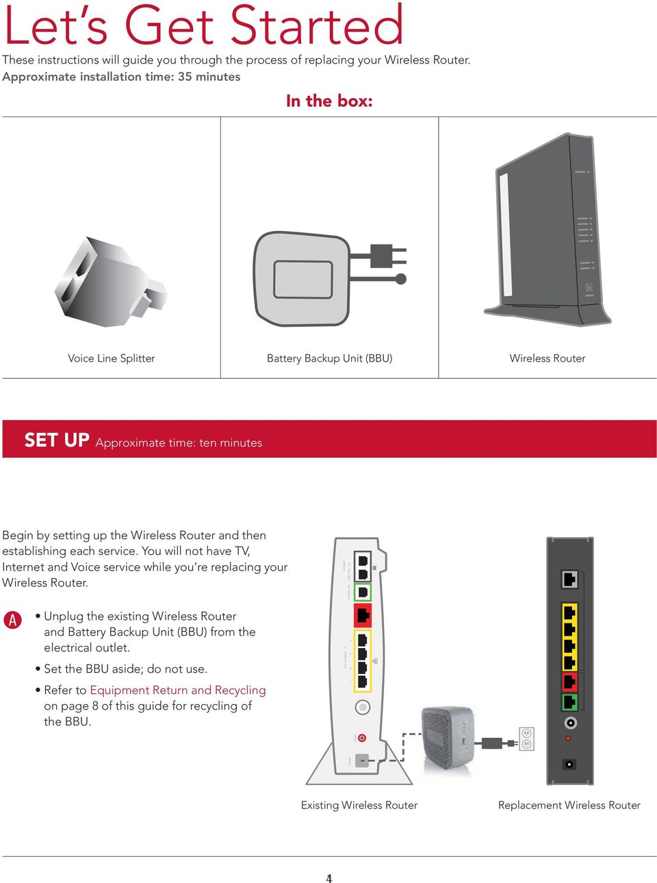 You will not have TV, Internet and Voice service while you re replacing your Wireless Router. A Unplug the existing Wireless Router and Battery Backup Unit (BBU) from the electrical outlet.